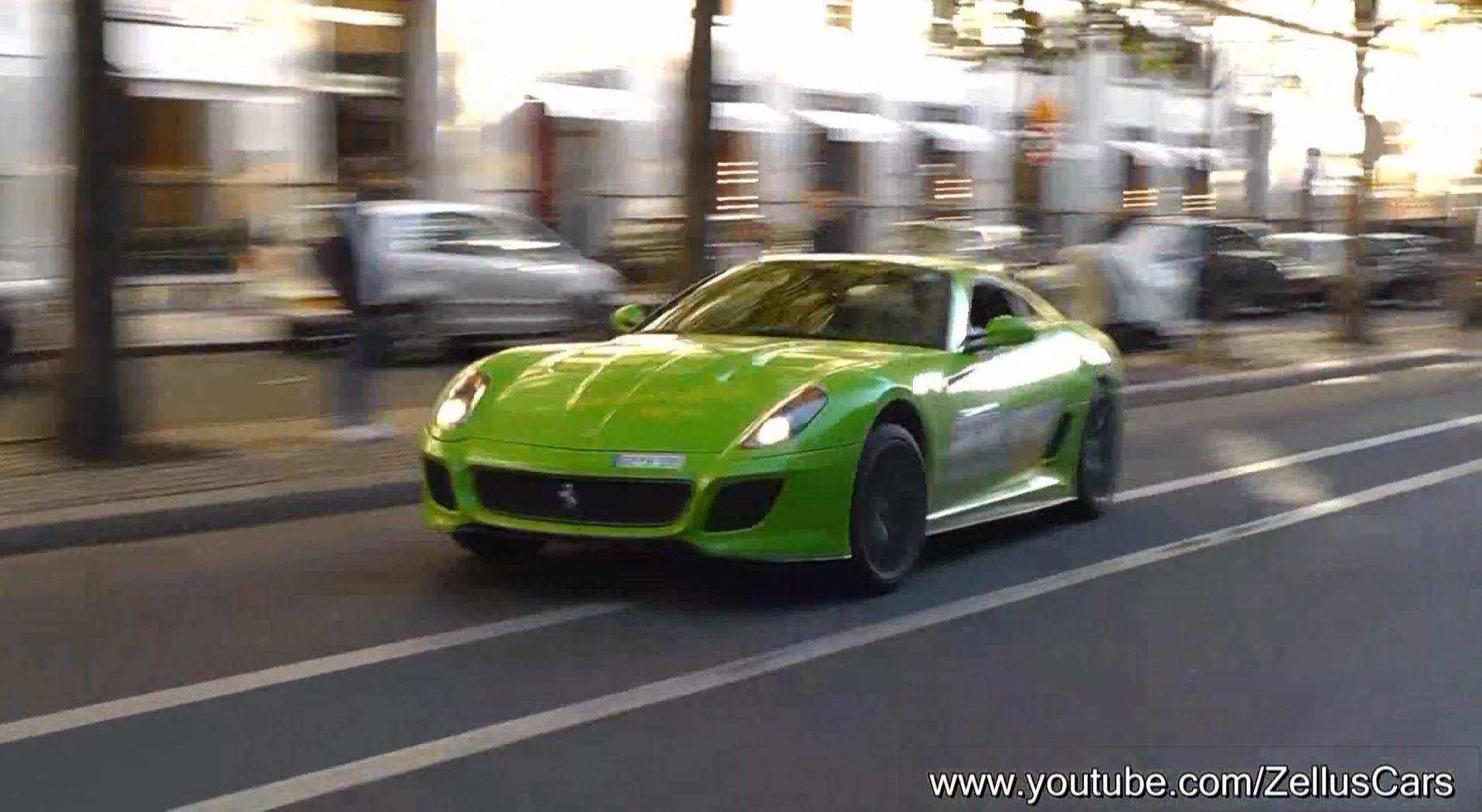 Ferrari 599 GTO going crazy in Paris - www.hartvoorautos.nl