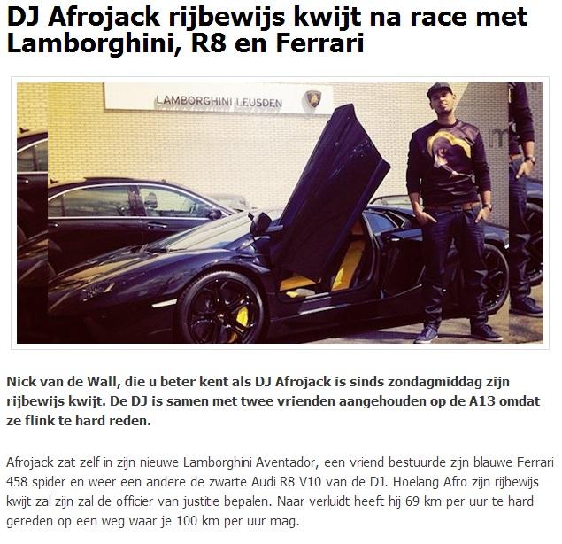 DJ Afrojack rijbewijs kwijt - www.hartvoorautos.nl