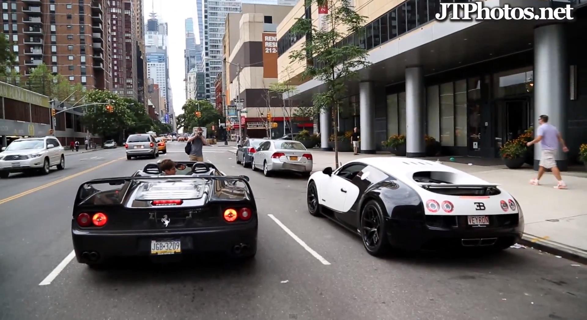 veyron super sport pur blanc ferrari f50 racing through city. Black Bedroom Furniture Sets. Home Design Ideas