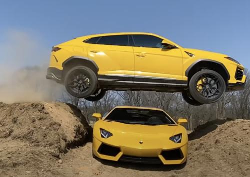 Lamborghini Urus springt over Aventador!!